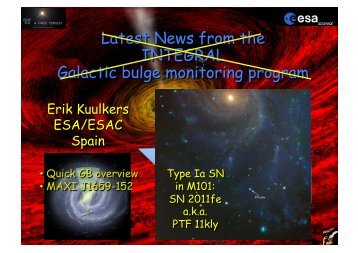 Latest news from the INTEGRAL Galactic bulge ... - INAF-IASF-Roma