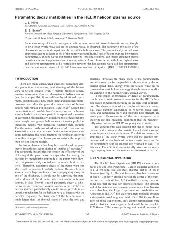 Parametric decay instabilities in helicon plasmas - Plasma Physics ...