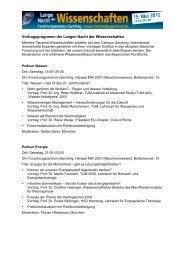 Vortragsprogramm der Langen Nacht der Wissenschaften - TUM