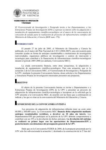 Convocatoria del Vicerrectorado de Investigación y ... - CTT - UPV