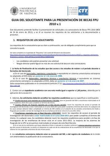 Guía del solicitante - CTT - UPV