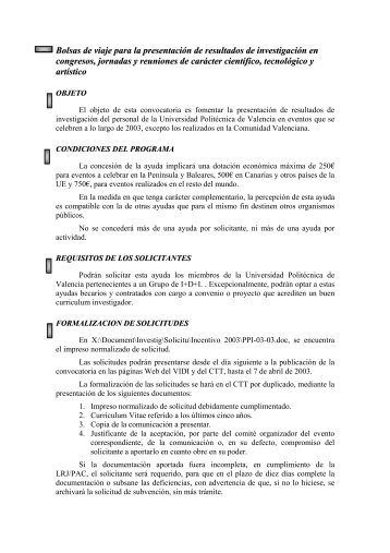 convocatoria - CTT - UPV