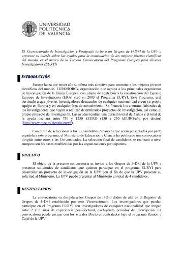El Vicerrectorado de Investigación y Postgrado invita a ... - CTT - UPV