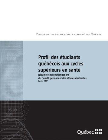 Profil des étudiants-chercheurs - Fonds de la recherche en santé du ...