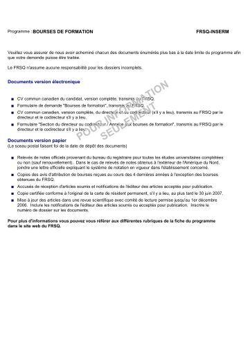 formulaire de demande de bourse