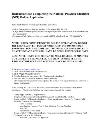national provider identifier (npi) application/update form