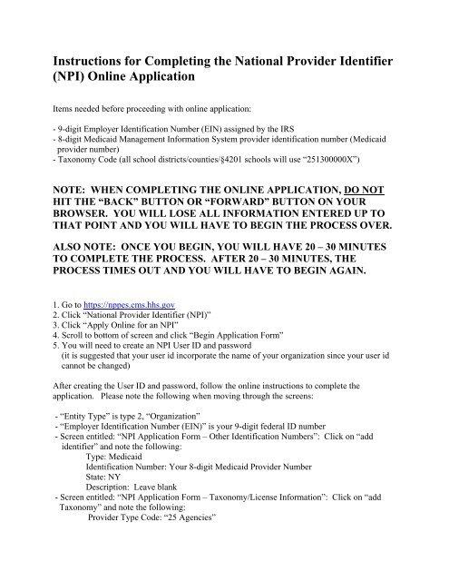 National provider identification (npi) registration instructions 2. 3.