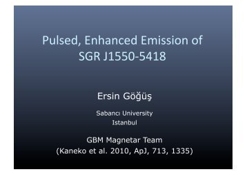 Pulsed, Enhanced Emission of SGR J1550-5418 - INAF-IASF-Roma