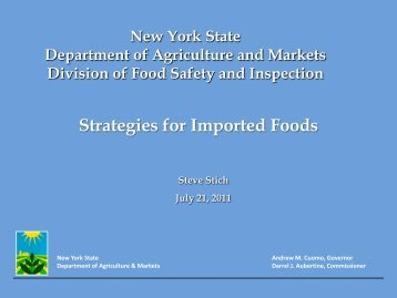 Strategies for Imported Foods