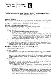 NORMAS PARA A ADXUDICACIÓN DE PRAZAS ... - Concello de Vigo