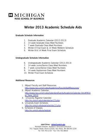 Umich Academic Calendar.10 Free Magazines From Www2 Bus Umich Edu