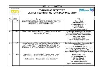 """FORUM WARSZTATOWE """"TARGI TECHNIKI MOTORYZACYJNEJ 2011"""" - TTM"""