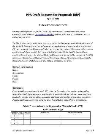PPA Draft Request for Proposals (RfP) - Resolve