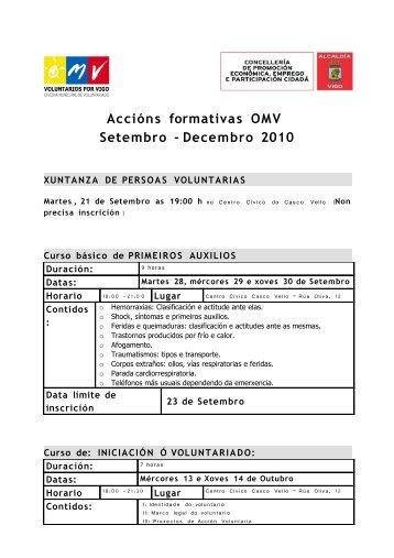 carta de convocatoria cursos voluntarios - Concello de Vigo