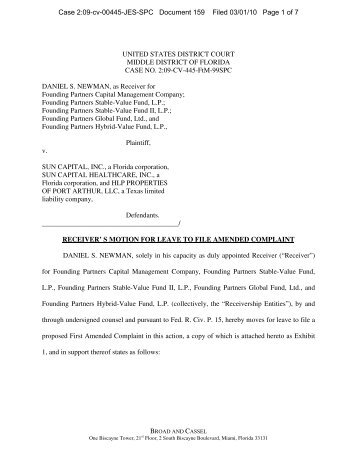 Motion for Leave to File Amended Complaint - West Virginia ...