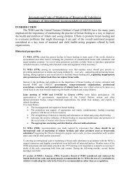 International Code of Marketing of Breast-milk Substitutes - ipa world