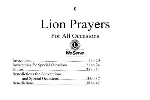 Lion Prayers - Lions Club District 4-C1