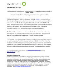 Page 1 FOR IMMEDIATE RELEASE Overture Named Fastest ...