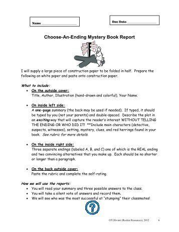 Choose An Ending Mystery Book Report