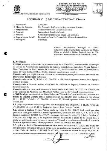 ACÓRDÃO N° 3-9,6 /2009 - TCE/TO - 2a Câmara - Tribunal de ...