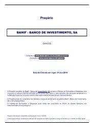 Preçário - Folheto de Comissões e Despesas BBI 20100101 - Banif