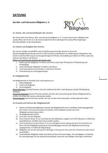 SATZUNG - RFV Billigheim