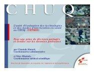 L'unité d'évaluation des technologies et des modes d ... - CHUQ