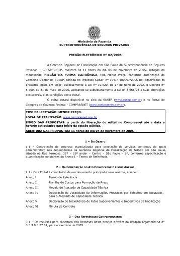 ESPECIFICAÇÕES DA PRESTAÇÃO DE SERVIÇOS ... - Susep