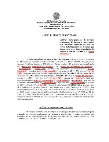 ANEXO J – MINUTA DE CONTRATO Contrato para ... - Susep