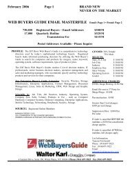 WEB BUYERS GUIDE EMAIL MASTERFILE Email: Page 1 • Postal ...