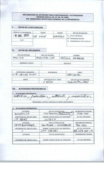 DECLARACION DE INTERESES PARA FUNCIONARIOS Y ...