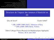 Structure de l'espace des tenseurs d'élasticité en 2D - Mathématiques