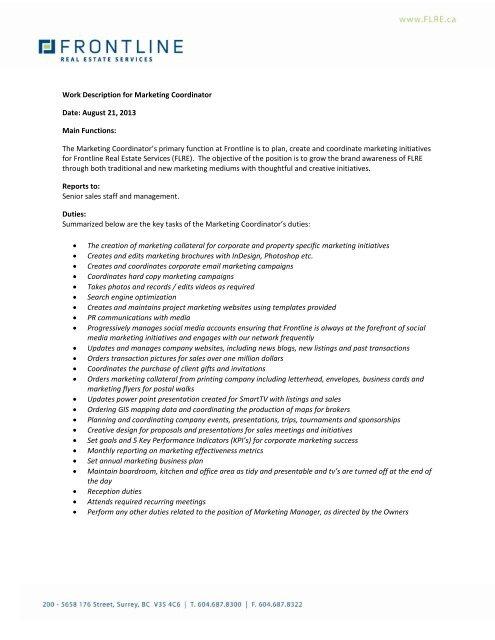 Download Marketing Coordinator Job Description Frontline Real