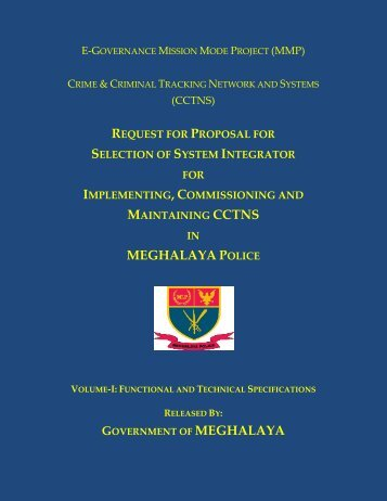 RFP for SI Vol-I - Govt. of Meghalaya, Home (Police) Department