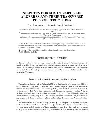 nilpotent orbits in simple lie algebras and their transverse poisson ...