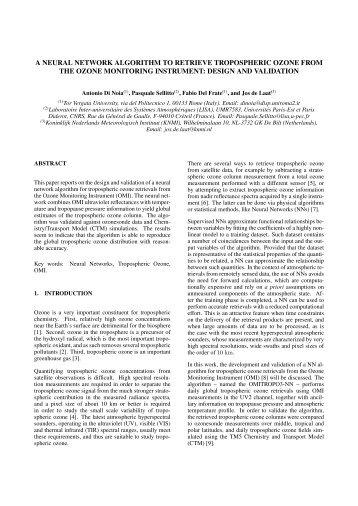 a neural network algorithm to retrieve tropospheric ozone ... - Cetemps
