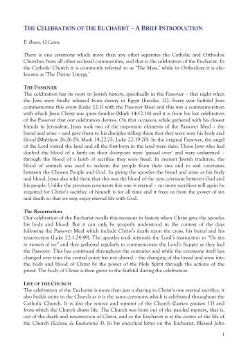 The Eucharistic Celebration