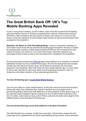 The Great British Bank Off: UK's Top Mobile Banking Apps Revealed