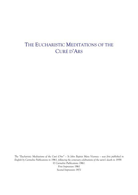 THE EUCHARISTIC MEDITATIONS OF THE CURÉ D'ARS - the Irish ...