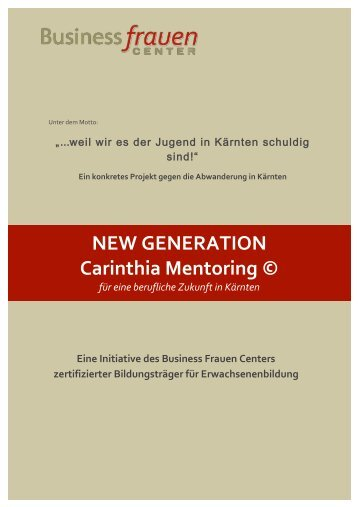 Folder - NEW GENERATION Carinthia Mentoring © 2014-15