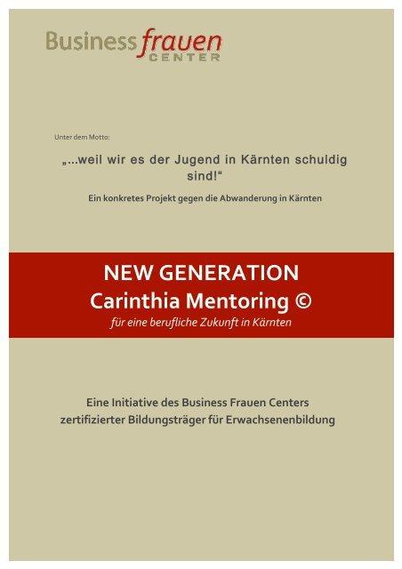 Folder - NEW GENERATION Carinthia Mentoring © 2014-15