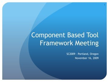 Component Based Tool Framework Meeting