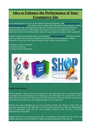 Idea to Enhance the Performance of Your Ecommerce Site