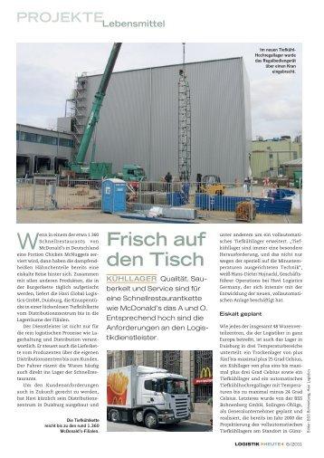 BSS -Materialfluss: Tiefkühllager für McDonald´s