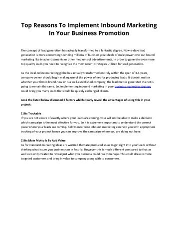 Top Reasons To Implement Inbound Marketing In Your Business Promotion