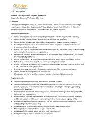Deployment Engineer - Windows 7 - Eden Technologies