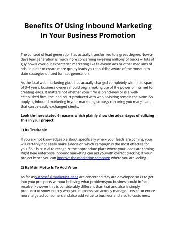 Benefits Of Using Inbound Marketing In Your Business Promotion