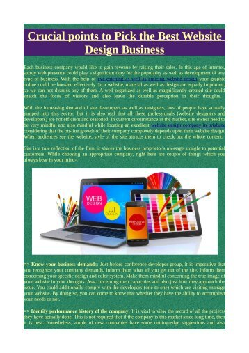 Crucial points to Pick the Best Website Design Business
