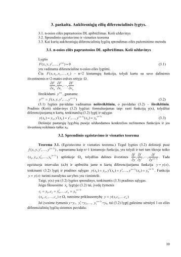 3. paskaita. Aukštesniųjų eilių diferencialinės lygtys. - techmat.vgtu.lt