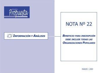 Nota de Información y Análisis # 22 - Grupo Propuesta Ciudadana